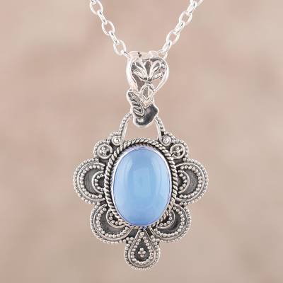 Chalcedony pendant necklace, 'Blue Antique Radiance' - Handcrafted Antique Style Silver and Chalcedony Necklace