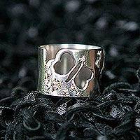 Sterling silver and diamond band ring, 'Winged Freedom' - Sterling Silver and Diamond Band Ring
