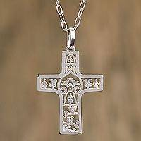 Sterling silver cross necklace, 'Cross of Life' - Sterling silver cross necklace