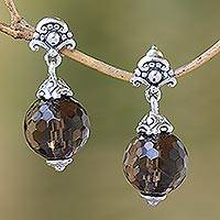 Smoky quartz dangle earrings, 'Royal Elegance' - Sterling Silver and Smoky Quartz Dangle Earrings Earrings