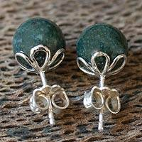 Dark green jade stud earrings, 'Ancient Wonder' - Dark Green Jade Round Stud Earrings