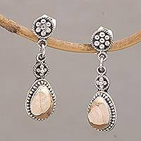 Gold accent sterling silver dangle earrings, 'Golden Surprise' (Indonesia)