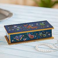 Reverse-painted glass decorative box,