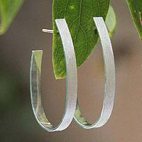 Sterling silver half hoop earrings, 'Matte Ribbon' - Fair Trade Women's Sterling Silver Half Hoop Earrings