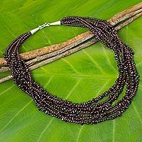 Garnet beaded strand necklace,
