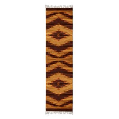 Zapotec wool runner, 'Dunes' (custom size, 2.5 ft x 11.5 ft) - Zapotec Wool Runner in Ochre and Brown (2.5x11.5)