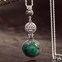 Chrysocolla pendant necklace, 'Sun Warrior' - Chrysocolla Pendant Necklace with Inca Motifs