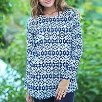 Rayon tunic, 'Candidasa Midnight' - Rayon Long Sleeve Tunic Midnight Blue and White Ikat Motifs