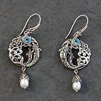 Blue topaz and cultured pearl dangle earrings, 'Dolphin Dive' - Dolphin Themed Sterling Silver Earrings with Blue Topaz