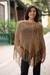 100% alpaca poncho, 'Desert Dream' - Unique Women's Alpaca Wool Brown Poncho thumbail