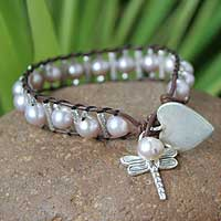 Cultured pearl and leather charm bracelet 'Thai Nature' - Cultured Pearl Leather and 950 Silver Charm Bracelet
