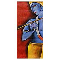 'Prince of Love' - Lord Krishna with Murali Flute Signed Hinduism Art Painting