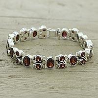 Garnet link bracelet,