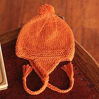 Alpaca blend chullo hat, 'Cozy Carrot' - Orange Alpaca Blend Chullo Hat