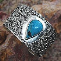 Turquoise cuff bracelet, 'Caribbean Empress' - Taxco Silver Jewelry with Natural Turquoise Cuff Bracelet