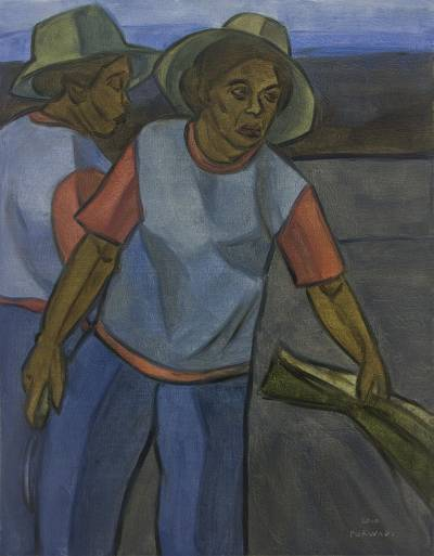 'Farmers at Harvest' - Cubist Balinese Farm Scene Painting in Blue Shades