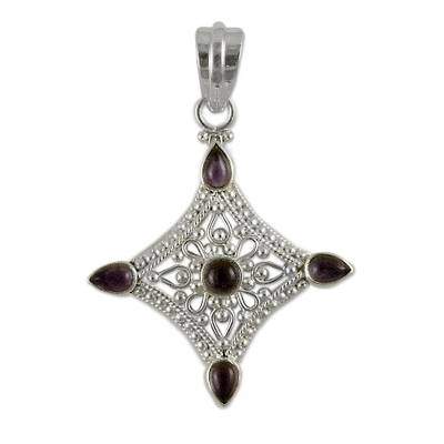 Amethyst pendant, 'Jaipur Blossom' - Handcrafted Indian Sterling Silver and Amethyst Pendant