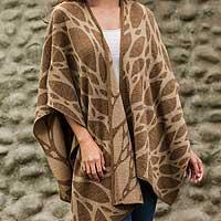 Reversible alpaca blend ruana cape,
