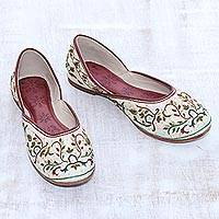 Silk jutti shoes, 'Taj Mahal Ivory' - Embellished Silk Jutti Shoes in Ivory from India