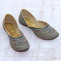 Silk jutti shoes, 'Embellished Taj Mahal' - Embellished Silk Jutti Shoes in Teal from India
