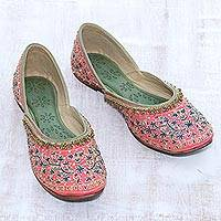 Silk jutti shoes, 'Strawberry Taj Mahal' - Embellished Silk Jutti Shoes in Strawberry from India