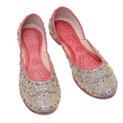 Silk jutti shoes, 'Taj Mahal Flowers' - Floral Hand-Embellished Silk Jutti Shoes from India