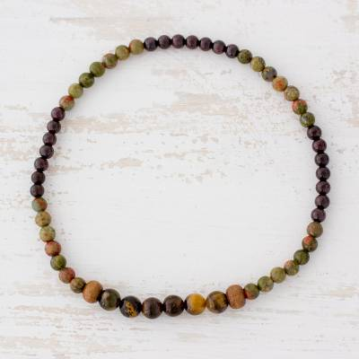 Multi-gemstone beaded stretch anklet, 'Perfect Combination' - Tiger's Eye Unakite and Garnet Beaded Anklet from Guatemala