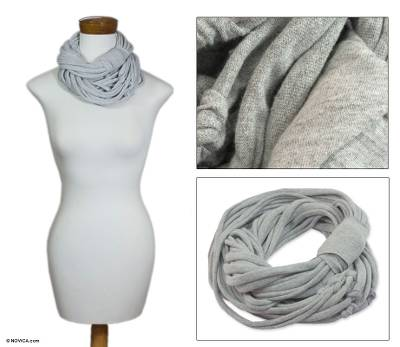 Cotton scarf, 'Gray Maya Noodles' - Fair Trade Cotton Scarf from Central America