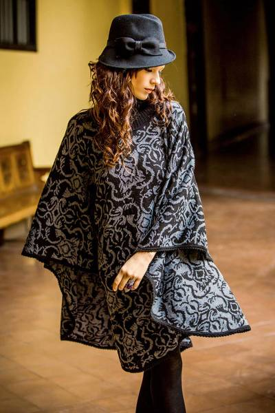 Alpaca blend reversible poncho, 'Sublime Black' - Alpaca Wool Blend Patterned Poncho