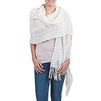 Alpaca blend shawl, 'Versatile Ivory' - Artisan Crafted Alpaca Wool Patterned Shawl
