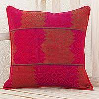 Cotton cushion cover, 'Red Delight' - Maya Backstrap Loom Woven Red Cotton Cushion Cover