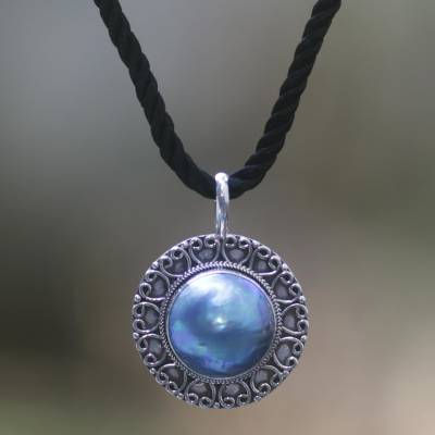 Pearl pendant necklace, Blue Indonesian Moon
