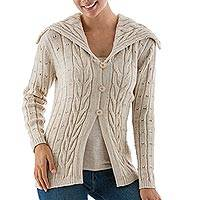 Alpaca blend long cardigan, 'Lady in Beige' - Alpaca Blend Women's Beige Cardigan Sweater with a Collar
