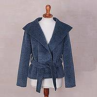 100% baby alpaca jacket, 'Cozy' - Blue 100% Baby Alpaca Wool Jacket with Sash