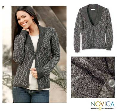 100% alpaca cardigan sweater, 'Evening Shadows' - 100% Alpaca Cardigan Sweater in Grey