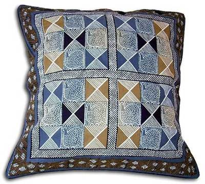Cotton cushion cover, 'Guinea Fowl in Blue Steel' (21 inch) - Cotton Cushion Cover with Guinea Fowl Motif (21 inch)