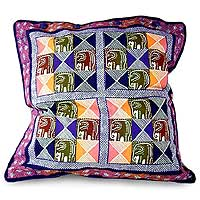 Cotton cushion cover, 'Elephant Squares in Dusk' (16 inch) - Multicolored Cushion Cover with Elephants (16 inch)