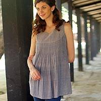 Cotton top, 'Sea Breeze' - Cotton Top For Women Long Sleeveless Blouse
