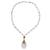 Gold plated quartz pendant necklace, 'Balance and Energy' - White Quartz Beaded Necklace with Gold-accented Pendant (image 2a) thumbail