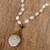 Gold plated quartz pendant necklace, 'Balance and Energy' - White Quartz Beaded Necklace with Gold-accented Pendant (image 2c) thumbail