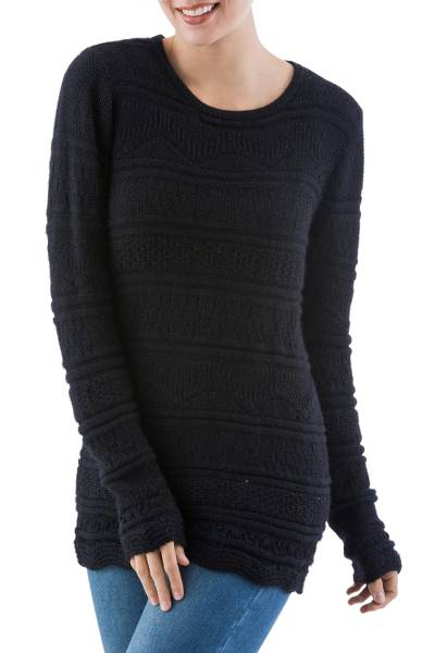 100% baby alpaca sweater, 'Dark Mountain' - Black Geometric Knit Baby Alpaca Pullover Sweater