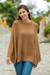 Alpaca blend poncho, 'Andes in Brown' - Knit Brown Alpaca Blend Poncho with Fretwork from Peru thumbail