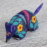 Wood alebrije flash drive, 'Armadillo Guardian' - Hand-Painted Alebrije Armadillo USB Drive from Mexico