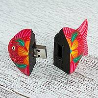 Wood alebrije flash drive, 'Floral Fish' - Handcrafted Wood Fish Alebrije Flash Drive with 8 GB USB