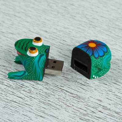 Wood alebrije flash drive, 'Happy Frog' - Handcrafted Wood Frog Flash Drive with 8 GB USB
