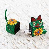 Wood alebrije flash drive, 'Floral Cat' - 8 GB USB Flash Drive with Wooden Cat Cover