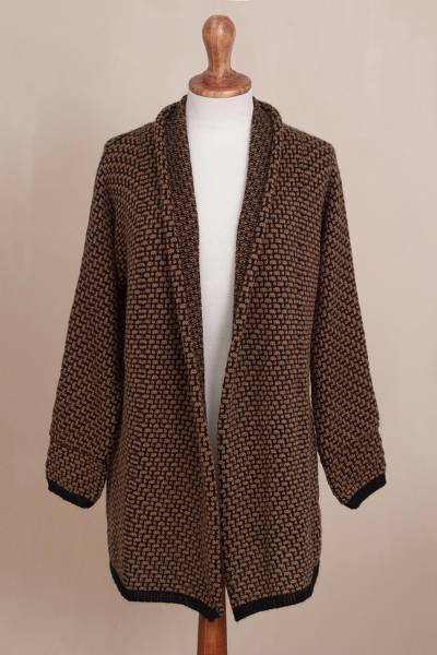 Alpaca blend sweater jacket, 'Hickory Coffee' - Brown and Black Alpaca Blend Relaxed Fit Cardigan Sweater