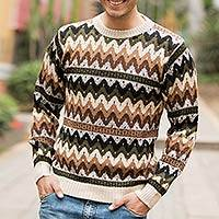 Alpaca men's sweater, 'Mountain Man' - Men's Alpaca Blend Crew Neck Sweater