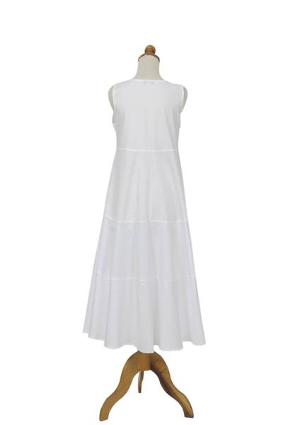 Cotton dress, 'Cool White' - Sleeveless Knee-length Cotton Dress from Bali