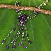 Amethyst and cultured pearl flower necklace, 'Fantasy' - Floral Amethyst and Pearl Beaded Necklace